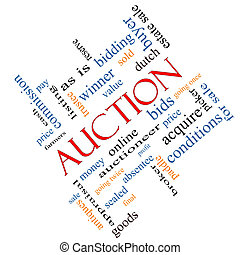 Auction Word Cloud Concept Angled - Auction Word Cloud...
