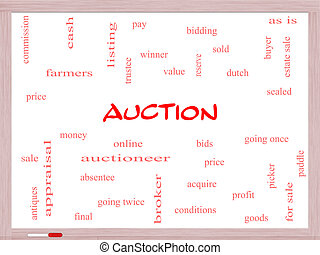 Auction Word Cloud Concept on a Whiteboard with great terms...