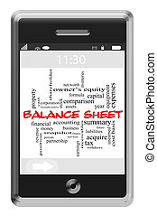 Balance Sheet Word Cloud Concept on Touchscreen Phone -...