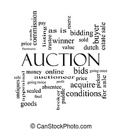 Auction Word Cloud Concept in black and white with great...