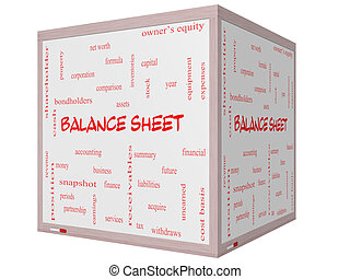 Balance Sheet Word Cloud Concept on a 3D cube Whiteboard...