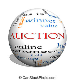 Auction 3D sphere Word Cloud Concept with great terms such...