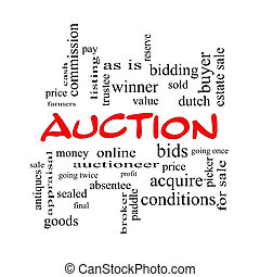 Auction Word Cloud Concept in red caps with great terms such...