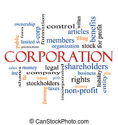 Corporation Word Cloud Concept with great terms such as...