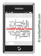 Corporation Word Cloud Concept on Touchscreen Phone -...