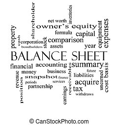 Balance Sheet Word Cloud Concept in black and white with...