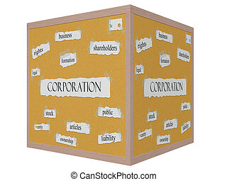 Corporation 3D cube Corkboard Word Concept with great terms...