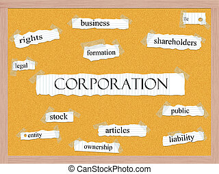 Corporation Corkboard Word Concept with great terms such as...