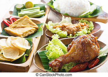 Nasi ayam penyet - Famous traditional Indonesian food....