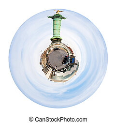 Place de la Bastille and July column in Paris - little...