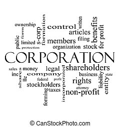 Corporation Word Cloud Concept in black and white with great...