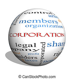 Corporation 3D sphere Word Cloud Concept with great terms...