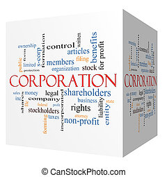 Corporation 3D cube Word Cloud Concept with great terms such...