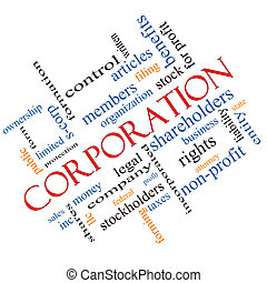 Corporation Word Cloud Concept Angled - Corporation Word...