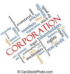 corporación, concepto, palabra, nube, angular