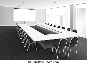 Boardroom - Vector illustration of boardroom with table and...