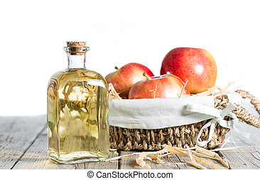Apple Cider Vinegar - Homemade Vinegar galas apples on a...