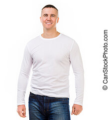 man in a white shirt with long sleeves - young attractive...