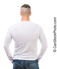 man in a white shirt with long sleeves - back of young man...