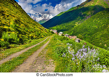 View of the Ipral village Georgia, Upper Svaneti, Europe