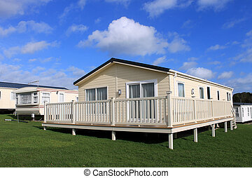 Modern caravans in trailer park resort, England.