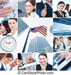 business collage - Business theme photo collage composed of...