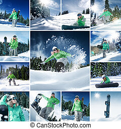 snowboarding mix - snowboarder theme collage composed of a...