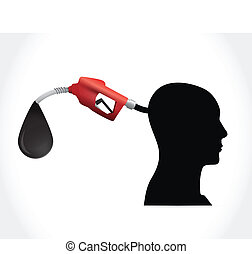 head and gas pump illustration design over a white...
