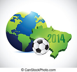soccer brazil map 2014 illustration design