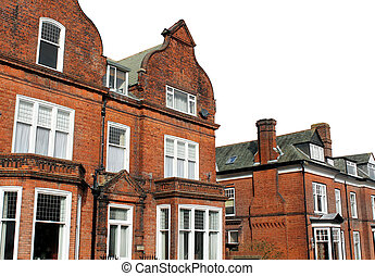 Red brick houses in street