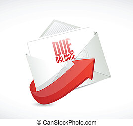 due balance email illustration design over a white...