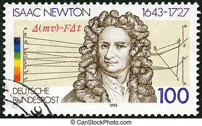 GERMANY - 1993: shows Sir Isaac Newton (1642-1727),...