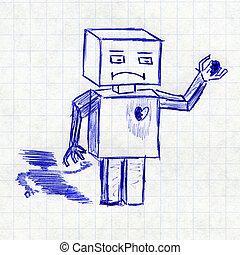 Robot with broken heart. Children's drawing in a school...