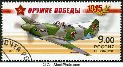 RUSSIA - CIRCA 2011: A stamp printed in Russia shows fighter...