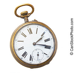 antique clock - brass  vintage clock isolated on  background