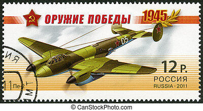 RUSSIA - 2011: shows dive bomber Pe-2, series Weapon of the...