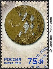 RUSSIA - CIRCA 2014: A stamp printed in Russia shows Gold...