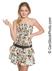 Fashion smiling preteen girl - A pretty preteen girl on the...
