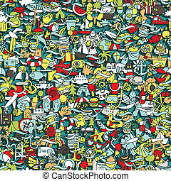 Holidays seamless pattern (repeated) with mini doodle...