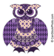 Isolated red patchwork owl - Red patchwork owl. Cartoon...