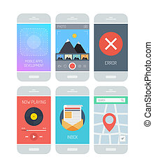 Smartphone application interface elements - Flat design...