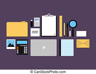 Office accessories flat icons set - Modern design flat icons...