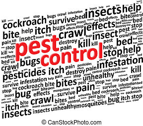 Pest Control For Bugs And Rodents Word Cloud Illustration