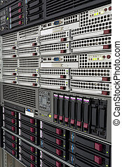 servers stack with hard drives in a datacenter for backup...