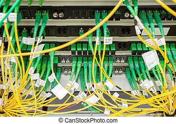fiber optic data center with media converters and optical...