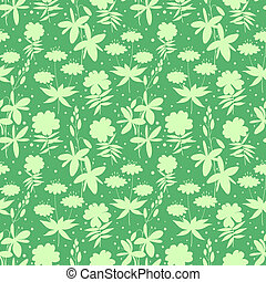 Wild flowers silhouettes seamless pattern