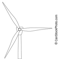 Wind Turbine - Black and white line drawing of a typical...