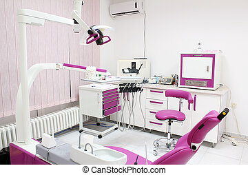 dental practice with chair and equipment