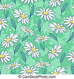 Beautiful camomile flowers seamless pattern