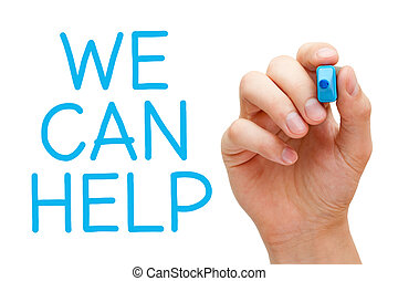 We Can Help - Hand writing We Can Help with blue marker on...